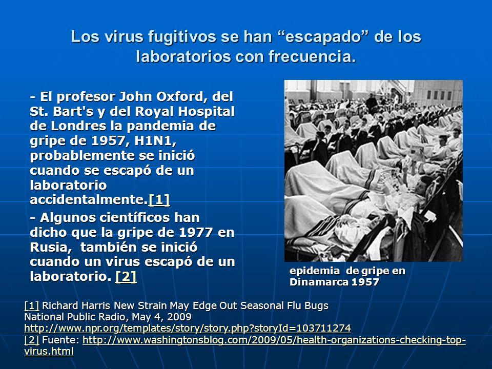 Los virus fugitivos se han escapado de los laboratorios con frecuencia. - El profesor John Oxford, del St. Bart's y del Royal Hospital de Londres la p