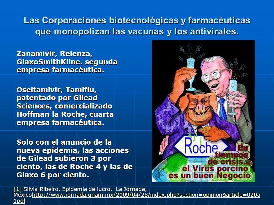 Las Corporaciones biotecnológicas y farmacéuticas que monopolizan las vacunas y los antivirales. Zanamivir, Relenza, GlaxoSmithKline. segunda empresa
