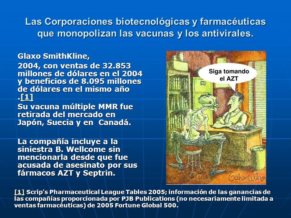 Las Corporaciones biotecnológicas y farmacéuticas que monopolizan las vacunas y los antivirales. Glaxo SmithKline, 2004, con ventas de 32.853 millones