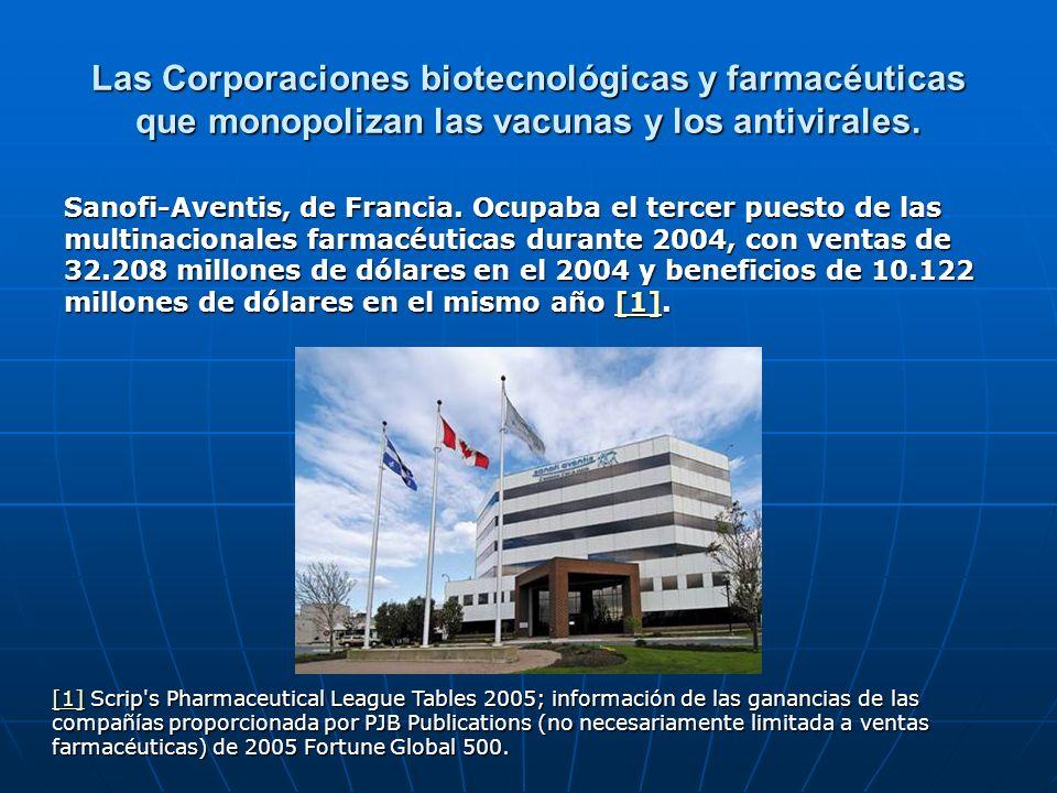 Las Corporaciones biotecnológicas y farmacéuticas que monopolizan las vacunas y los antivirales. Sanofi-Aventis, de Francia. Ocupaba el tercer puesto