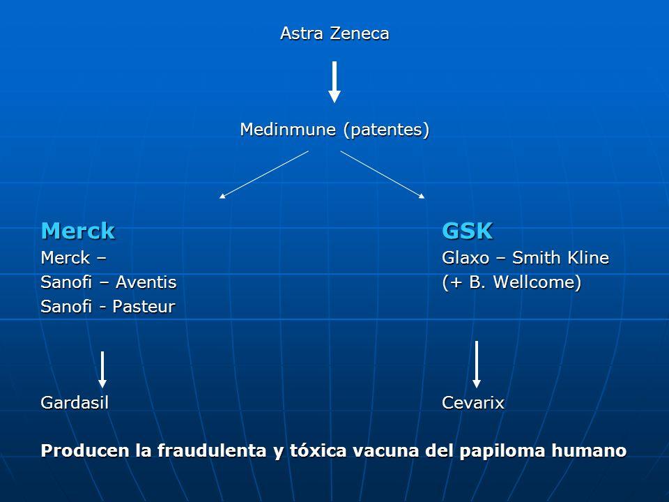 Astra Zeneca Medinmune (patentes) MerckGSK Merck – Glaxo – Smith Kline Sanofi – Aventis(+ B. Wellcome) Sanofi - Pasteur GardasilCevarix Producen la fr