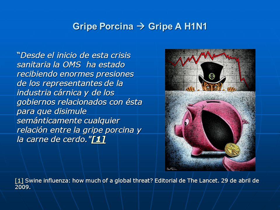 Gripe Porcina Gripe A H1N1 Desde el inicio de esta crisis sanitaria la OMS ha estado recibiendo enormes presiones de los representantes de la industri