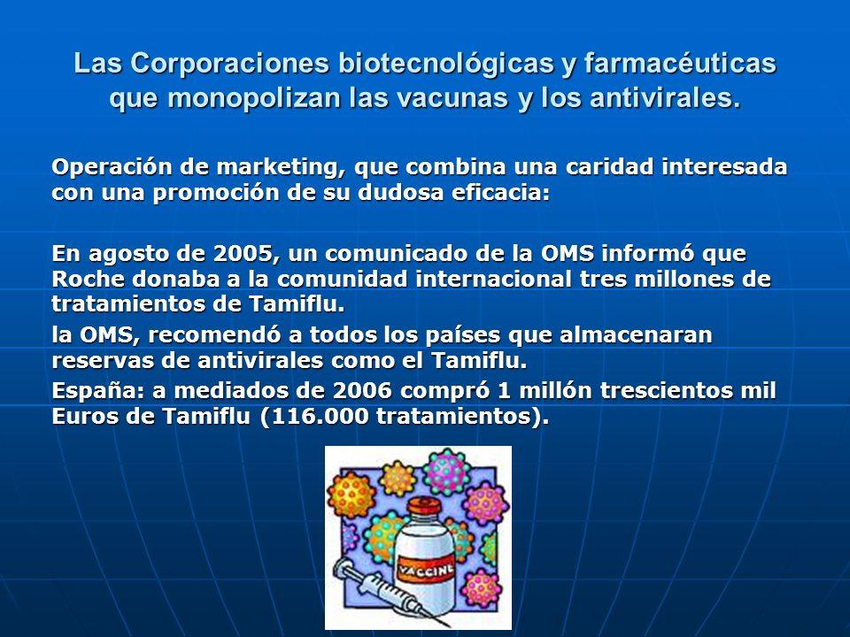 Las Corporaciones biotecnológicas y farmacéuticas que monopolizan las vacunas y los antivirales. Operación de marketing, que combina una caridad inter