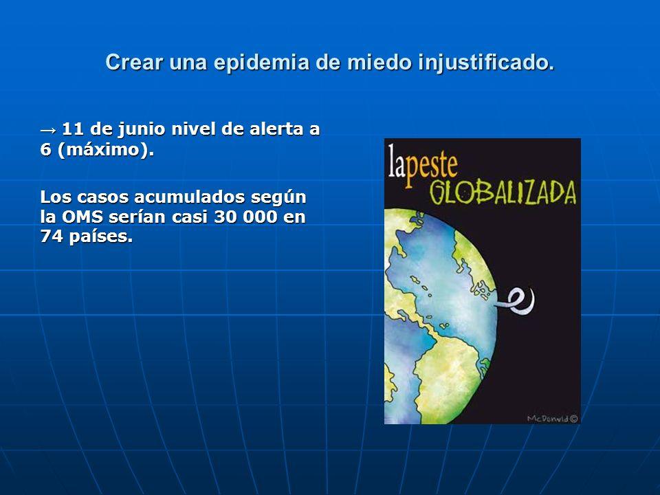 Crear una epidemia de miedo injustificado. 11 de junio nivel de alerta a 6 (máximo). 11 de junio nivel de alerta a 6 (máximo). Los casos acumulados se