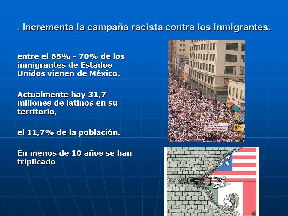 . Incrementa la campaña racista contra los inmigrantes. entre el 65% - 70% de los inmigrantes de Estados Unidos vienen de México. Actualmente hay 31,7