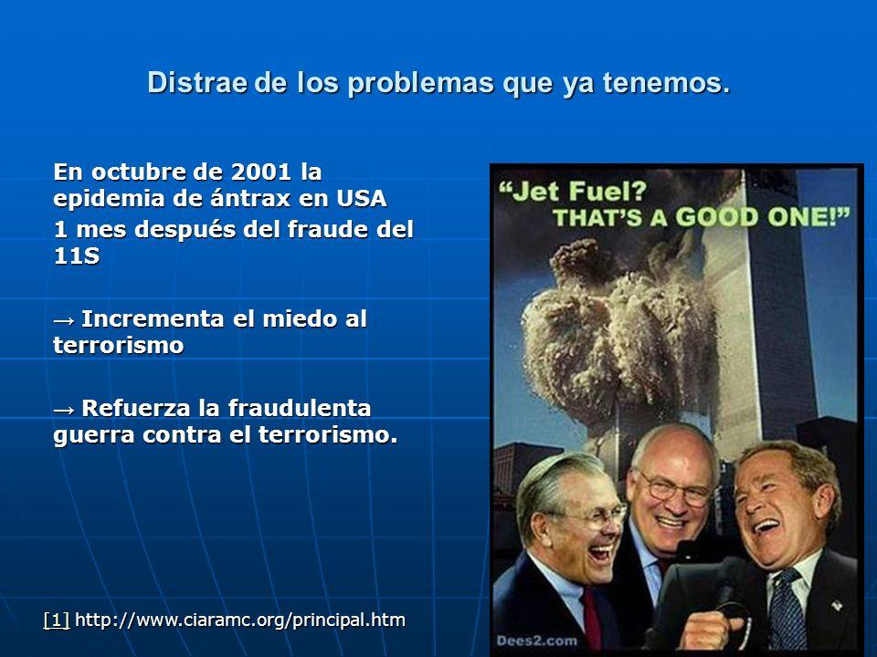 Distrae de los problemas que ya tenemos. En octubre de 2001 la epidemia de ántrax en USA 1 mes después del fraude del 11S Incrementa el miedo al terro