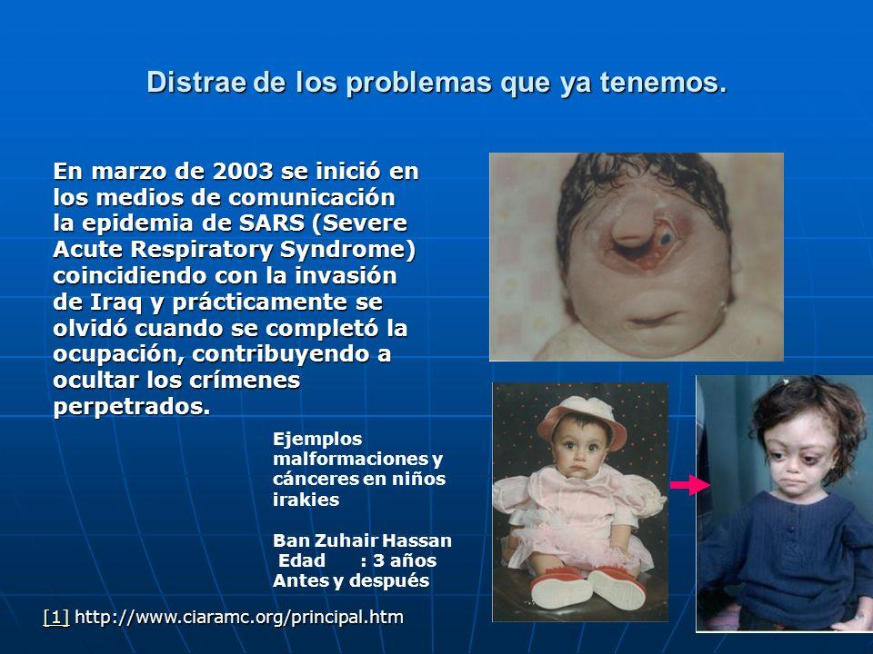 Distrae de los problemas que ya tenemos. En marzo de 2003 se inició en los medios de comunicación la epidemia de SARS (Severe Acute Respiratory Syndro