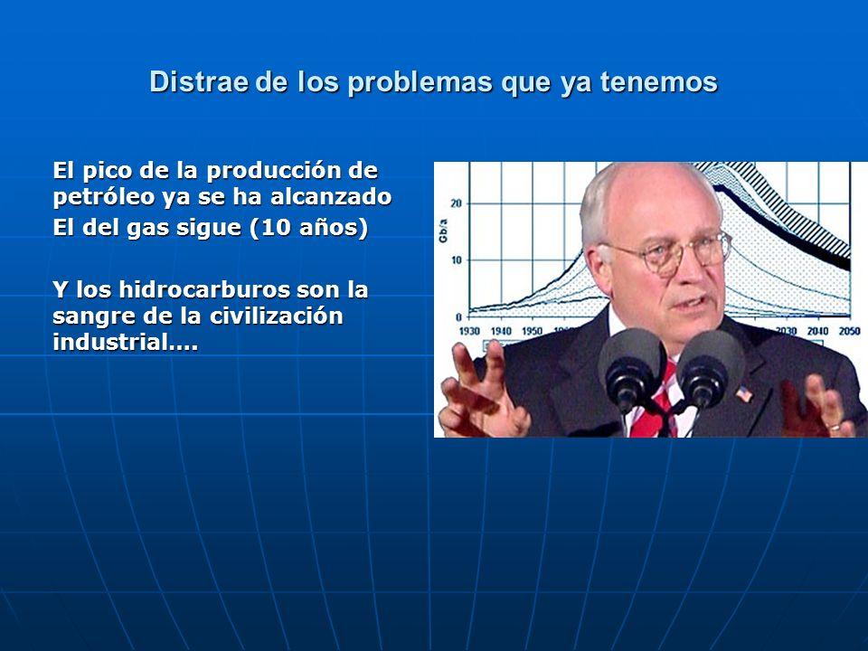 Distrae de los problemas que ya tenemos El pico de la producción de petróleo ya se ha alcanzado El del gas sigue (10 años) Y los hidrocarburos son la