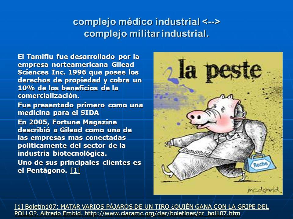 complejo médico industrial complejo militar industrial. El Tamiflu fue desarrollado por la empresa norteamericana Gilead Sciences Inc. 1996 que posee