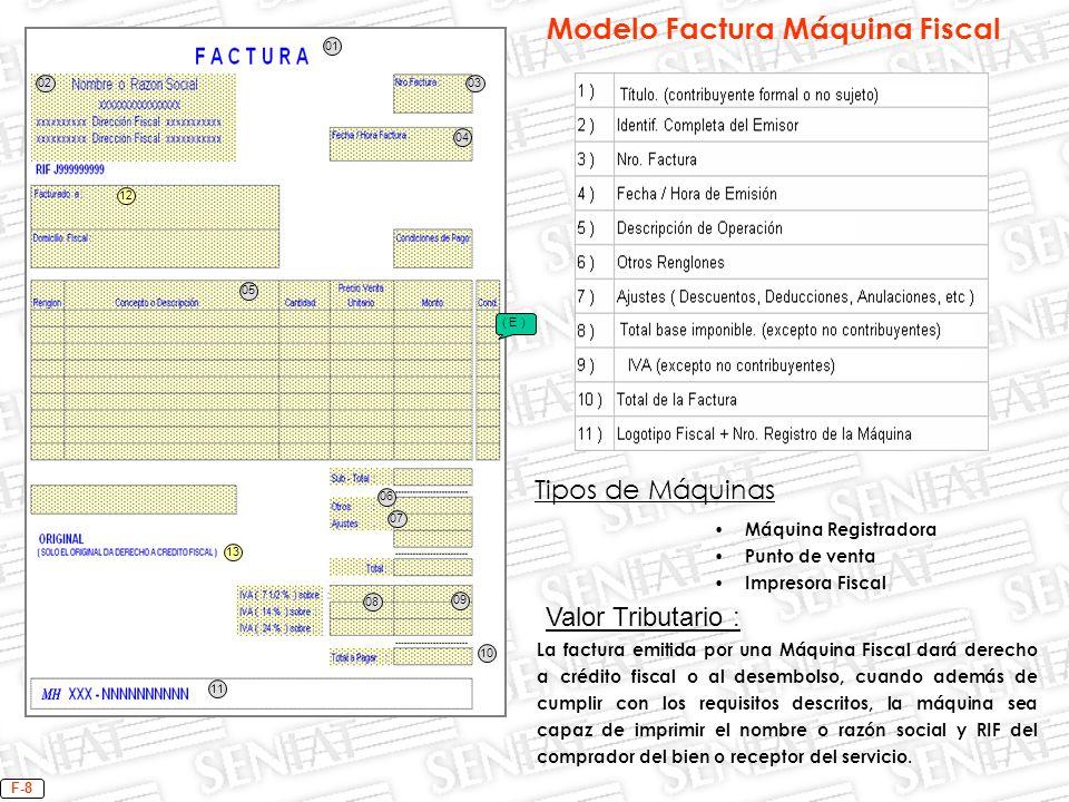 04 01 0302 05 06 07 08 09 10 11 Tipos de Máquinas Máquina Registradora Punto de venta Impresora Fiscal F-8 13 12 ( E ) Valor Tributario : La factura e