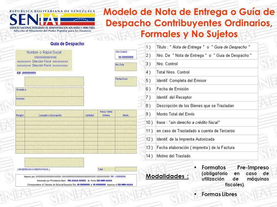 Modalidades : Formatos Pre-Impreso (obligatorio en caso de utilización de máquinas fiscales). Formas Libres Modelo de Nota de Entrega o Guía de Despac