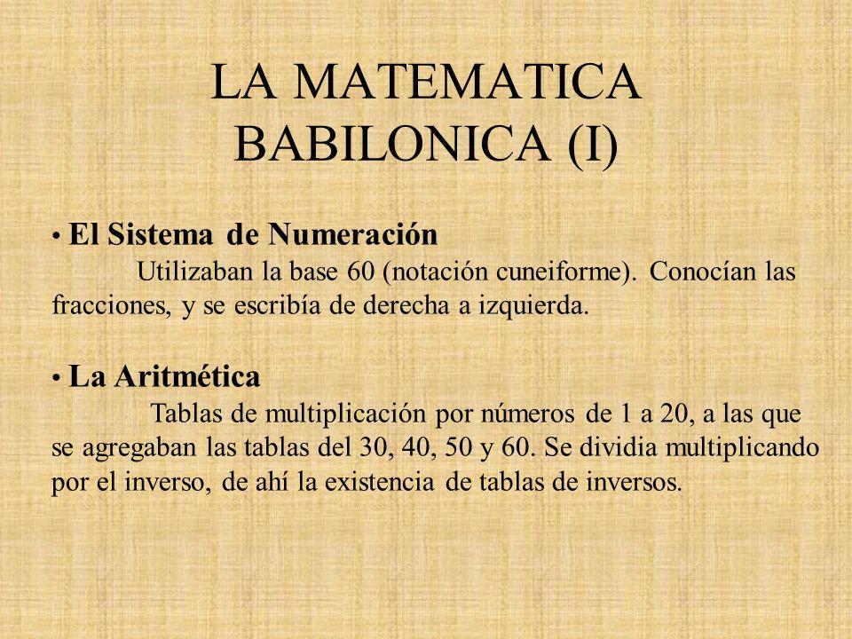LA MATEMATICA BABILONICA (I) El Sistema de Numeración Utilizaban la base 60 (notación cuneiforme). Conocían las fracciones, y se escribía de derecha a