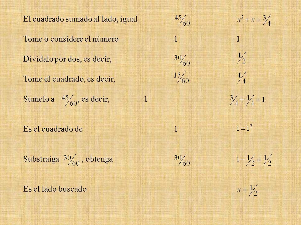 El cuadrado sumado al lado, igual Tome o considere el número 1 1 Divídalo por dos, es decir, Tome el cuadrado, es decir, Sumelo a, es decir, 1 Es el c