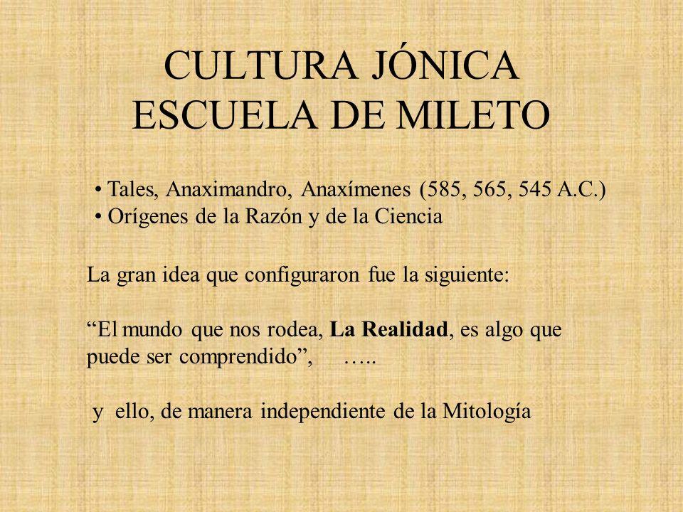 CULTURA JÓNICA ESCUELA DE MILETO Tales, Anaximandro, Anaxímenes (585, 565, 545 A.C.) Orígenes de la Razón y de la Ciencia La gran idea que configuraro
