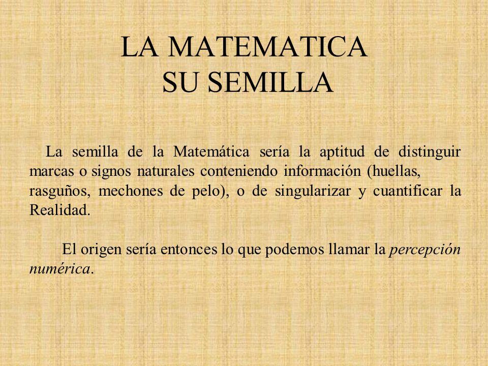 LA MATEMATICA SU SEMILLA La semilla de la Matemática sería la aptitud de distinguir marcas o signos naturales conteniendo información (huellas, rasguñ