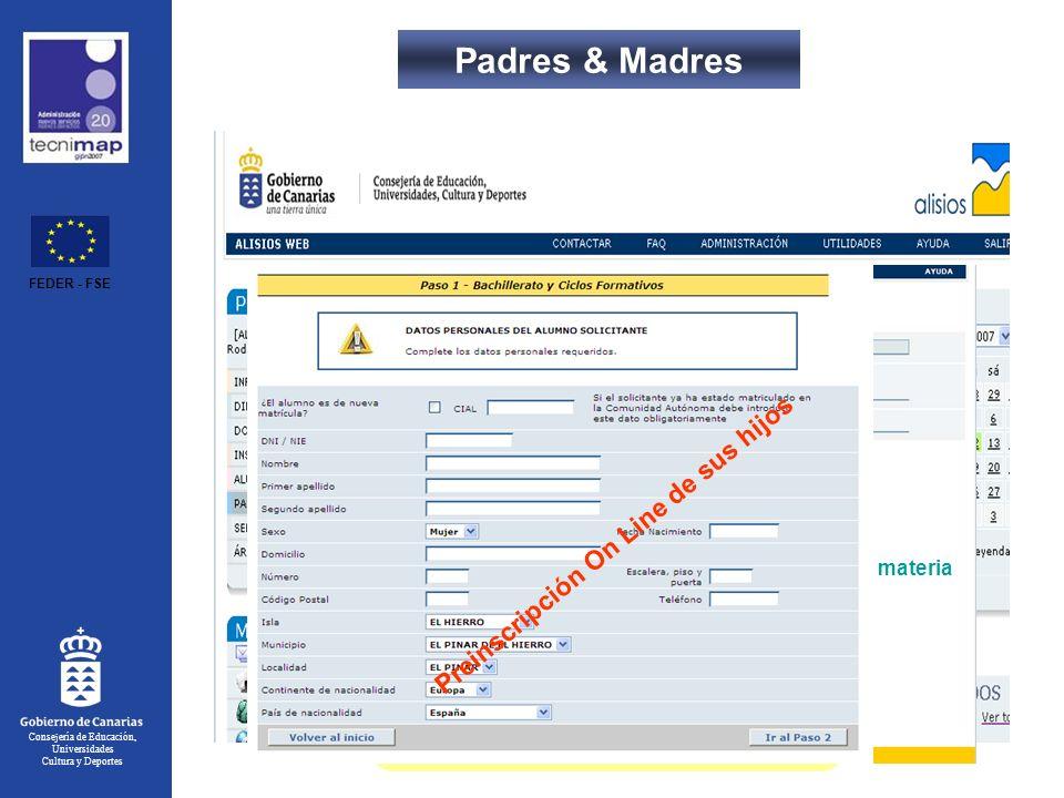 Consejería de Educación, Universidades Cultura y Deportes Padres & Madres Índice 1.- Introducción.