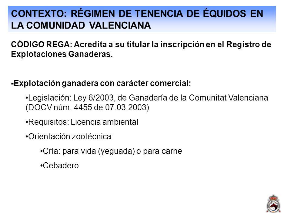CONTEXTO: RÉGIMEN DE TENENCIA DE ÉQUIDOS EN LA COMUNIDAD VALENCIANA CÓDIGO REGA: Acredita a su titular la inscripción en el Registro de Explotaciones Ganaderas.