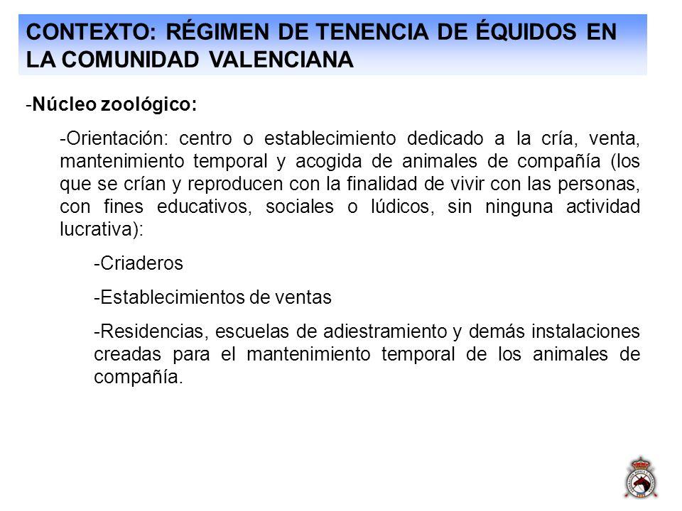 CONTEXTO: RÉGIMEN DE TENENCIA DE ÉQUIDOS EN LA COMUNIDAD VALENCIANA -Núcleo zoológico: -Orientación: centro o establecimiento dedicado a la cría, vent