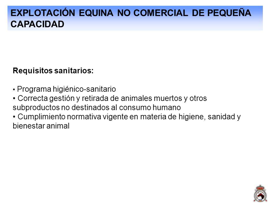 EXPLOTACIÓN EQUINA NO COMERCIAL DE PEQUEÑA CAPACIDAD Requisitos sanitarios: Programa higiénico-sanitario Correcta gestión y retirada de animales muert
