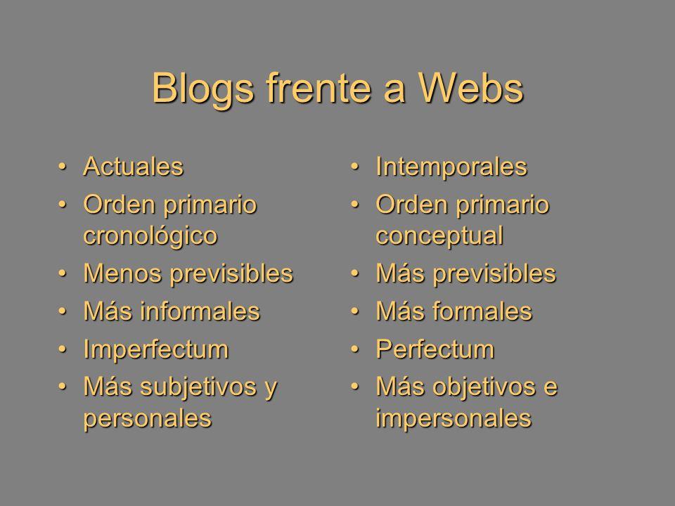 Blog, biblioteca y autores La condición del blogmaster condiciona al biblioblog Carácter personalista de los blogs: el narcisismo.