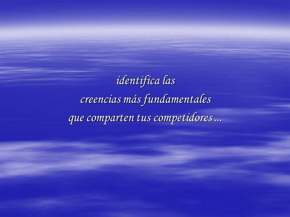 identifica las creencias más fundamentales que comparten tus competidores...