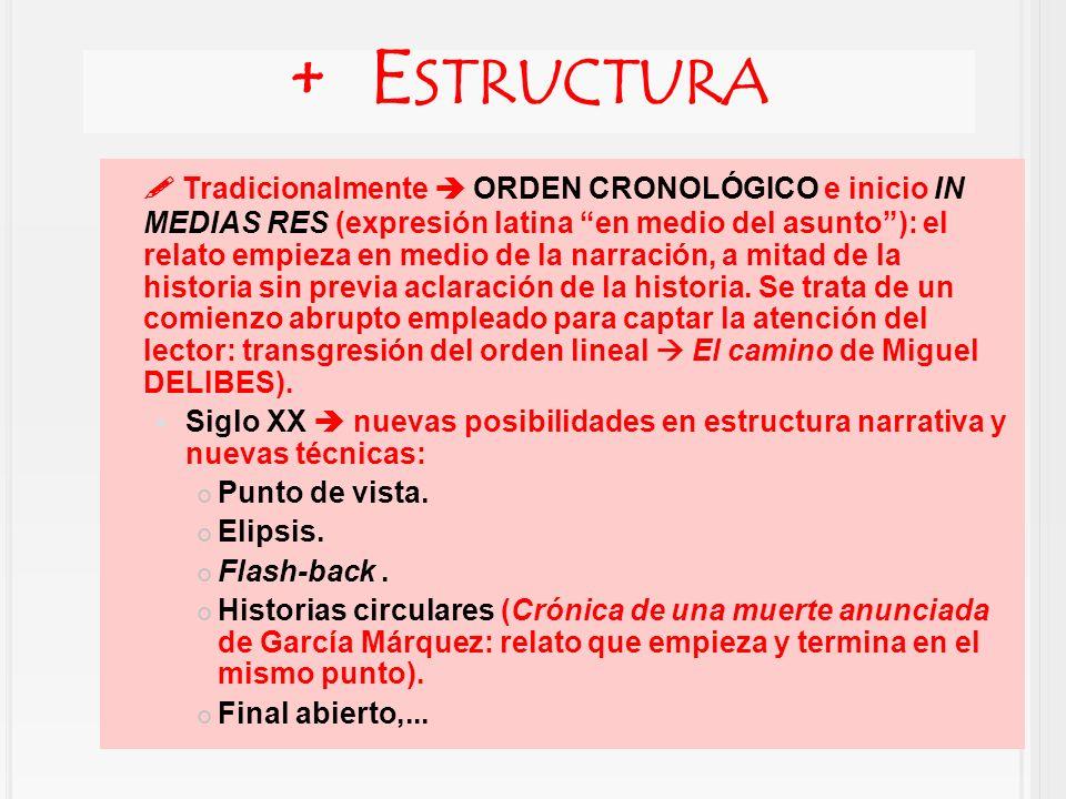 Tradicionalmente ORDEN CRONOLÓGICO e inicio IN MEDIAS RES (expresión latina en medio del asunto): el relato empieza en medio de la narración, a mitad