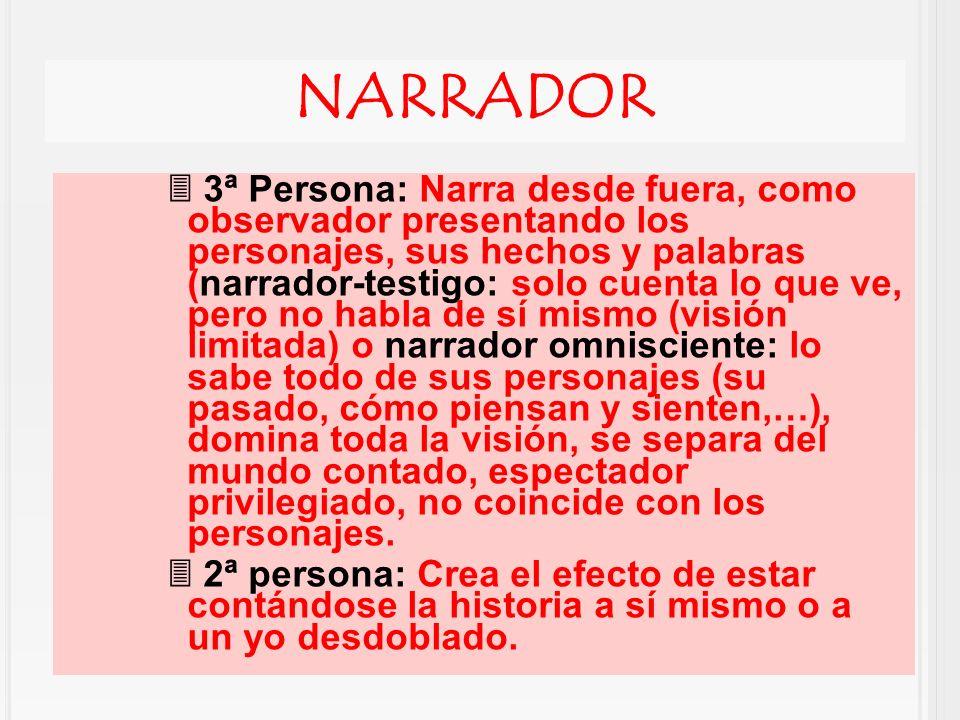 NARRADOR 3ª Persona: Narra desde fuera, como observador presentando los personajes, sus hechos y palabras (narrador-testigo: solo cuenta lo que ve, pe