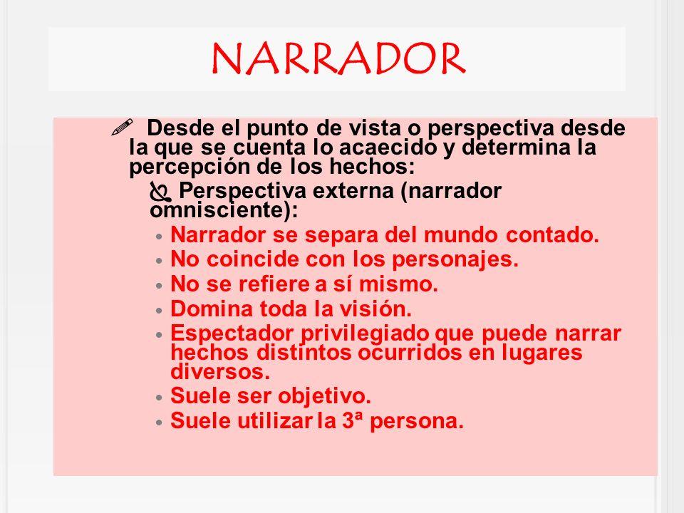 NARRADOR Desde el punto de vista o perspectiva desde la que se cuenta lo acaecido y determina la percepción de los hechos: Perspectiva externa (narrad