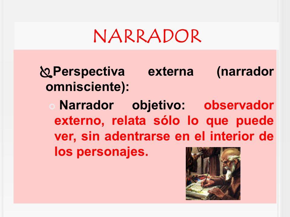 NARRADOR Perspectiva externa (narrador omnisciente): Narrador objetivo: observador externo, relata sólo lo que puede ver, sin adentrarse en el interio