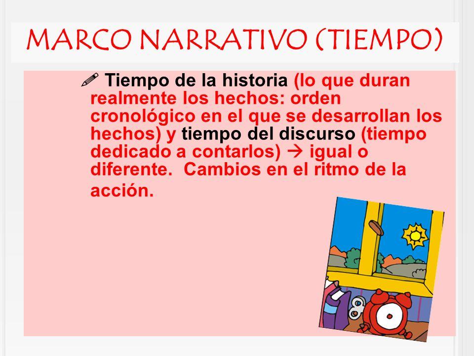 MARCO NARRATIVO (TIEMPO) Tiempo de la historia (lo que duran realmente los hechos: orden cronológico en el que se desarrollan los hechos) y tiempo del