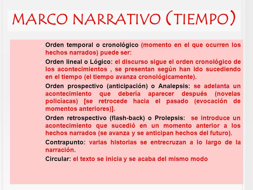 MARCO NARRATIVO ( TIEMPO ) Orden temporal o cronológico (momento en el que ocurren los hechos narrados) puede ser: Orden lineal o Lógico: el discurso