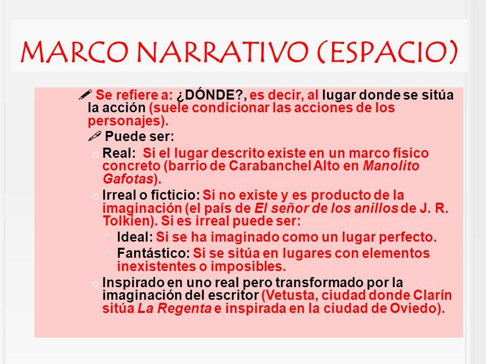 MARCO NARRATIVO (ESPACIO) Se refiere a: ¿DÓNDE?, es decir, al lugar donde se sitúa la acción (suele condicionar las acciones de los personajes). Puede