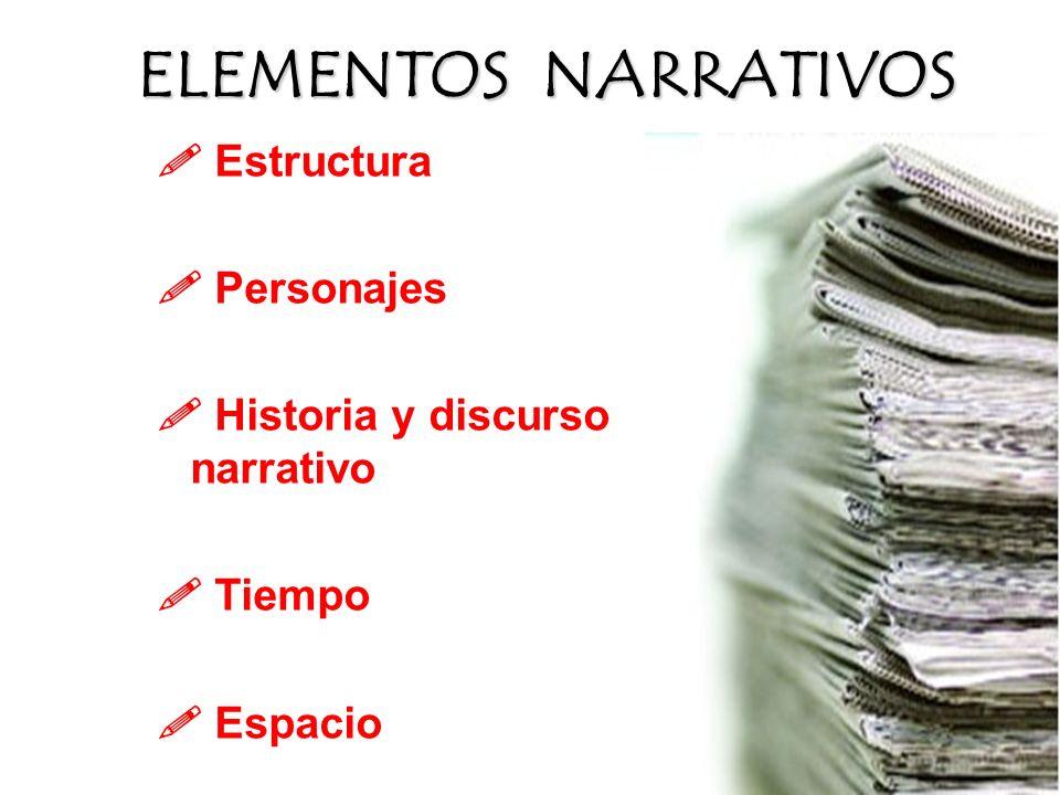 Estructura Personajes Historia y discurso narrativo Tiempo Espacio ELEMENTOS NARRATIVOS