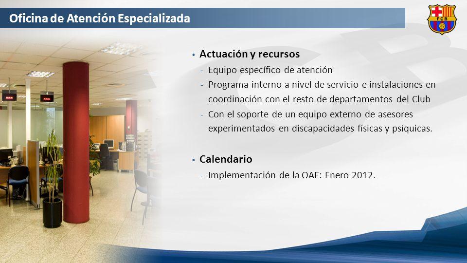 Oficina de Atención Especializada Actuación y recursos Equipo específico de atención Programa interno a nivel de servicio e instalaciones en coordinación con el resto de departamentos del Club Con el soporte de un equipo externo de asesores experimentados en discapacidades físicas y psíquicas.