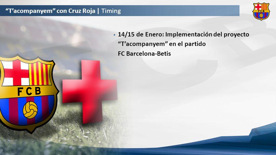 14/15 de Enero: Implementación del proyecto Tacompanyem en el partido FC Barcelona-Betis Tacompanyem con Cruz Roja | Timing