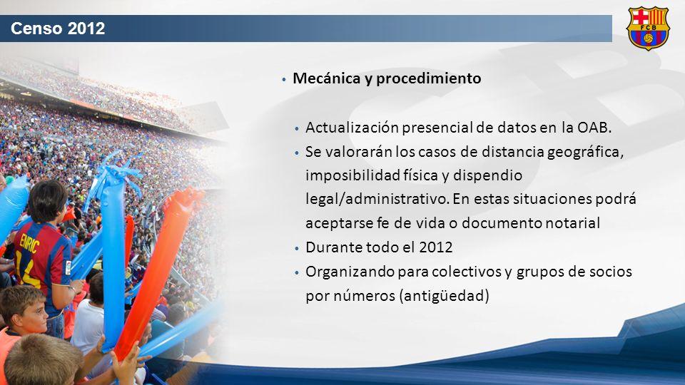 Censo 2012 Mecánica y procedimiento Actualización presencial de datos en la OAB.