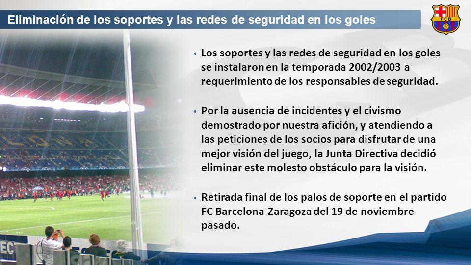 Eliminación de los soportes y las redes de seguridad en los goles Los soportes y las redes de seguridad en los goles se instalaron en la temporada 2002/2003 a requerimiento de los responsables de seguridad.