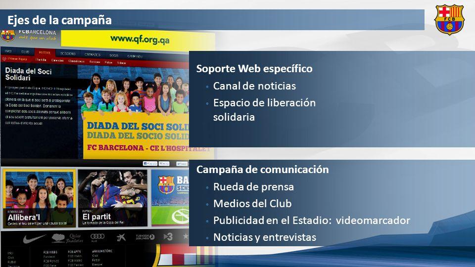 Ejes de la campaña Soporte Web específico Canal de noticias Espacio de liberación solidaria Campaña de comunicación Rueda de prensa Medios del Club Publicidad en el Estadio: videomarcador Noticias y entrevistas