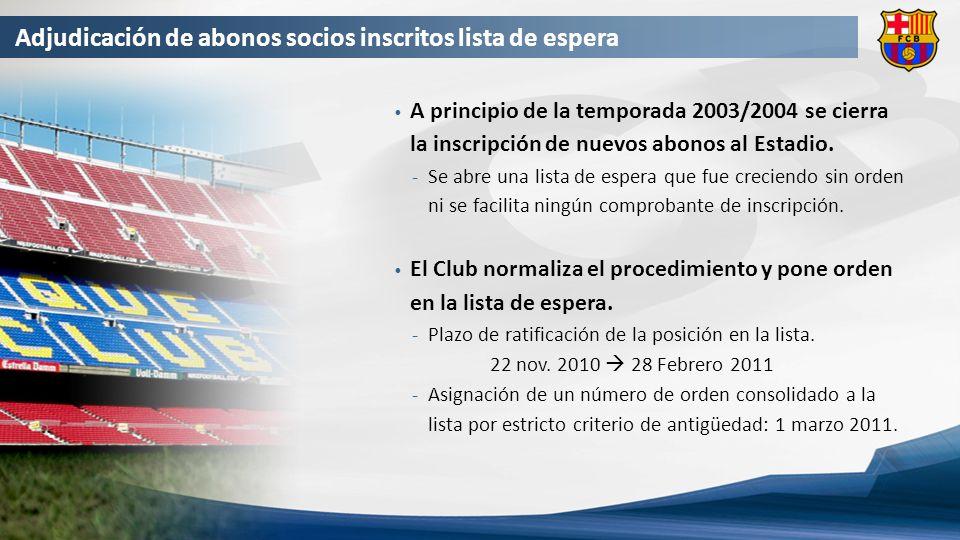 Adjudicación de abonos socios inscritos lista de espera A principio de la temporada 2003/2004 se cierra la inscripción de nuevos abonos al Estadio.