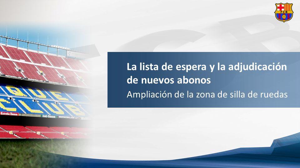 Adjudicación de abonos socios inscritos lista de espera | Zona de silla de ruedas Ampliación de las localidades para discapacitados y acompañantes al Estadio.