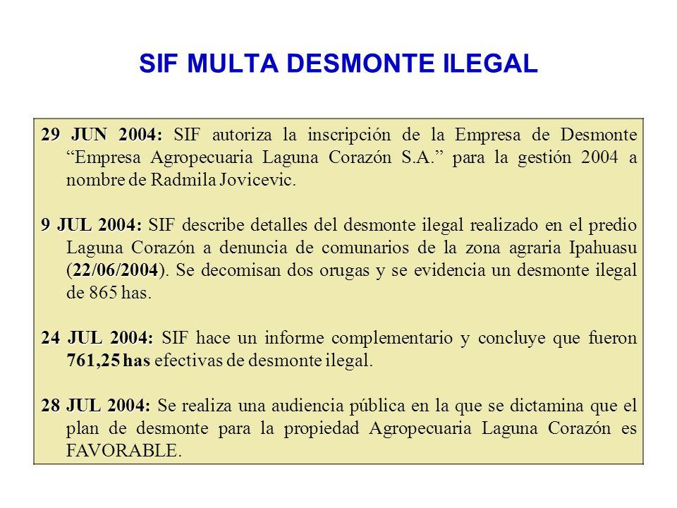 SIF MULTA DESMONTE ILEGAL 29 JUN 2004: 29 JUN 2004: SIF autoriza la inscripción de la Empresa de Desmonte Empresa Agropecuaria Laguna Corazón S.A. par