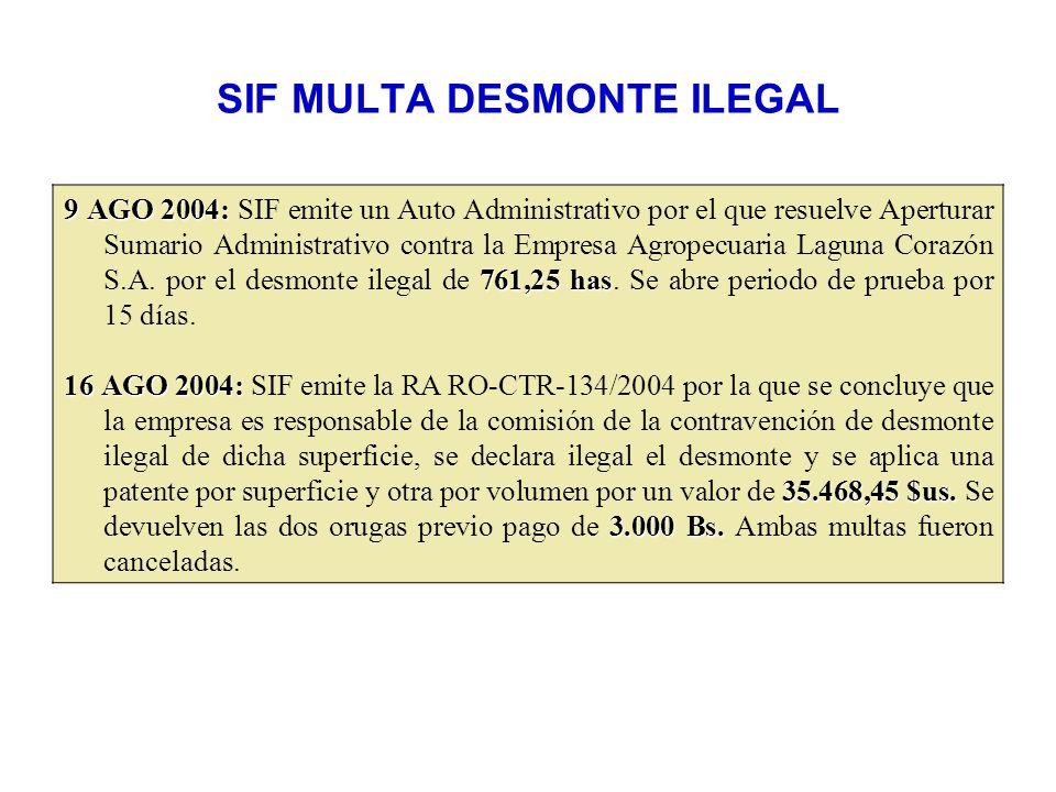 SIF MULTA DESMONTE ILEGAL 9 AGO 2004: 761,25 has 9 AGO 2004: SIF emite un Auto Administrativo por el que resuelve Aperturar Sumario Administrativo con