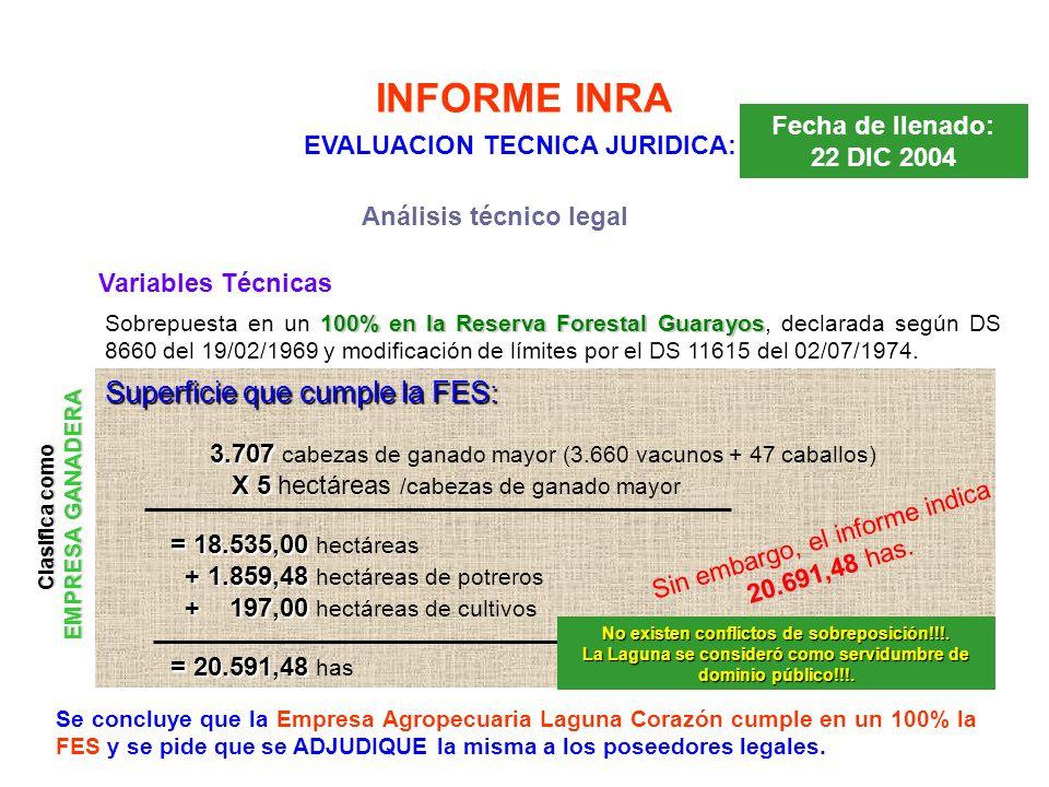 INFORME INRA Se concluye que la Empresa Agropecuaria Laguna Corazón cumple en un 100% la FES y se pide que se ADJUDIQUE la misma a los poseedores lega