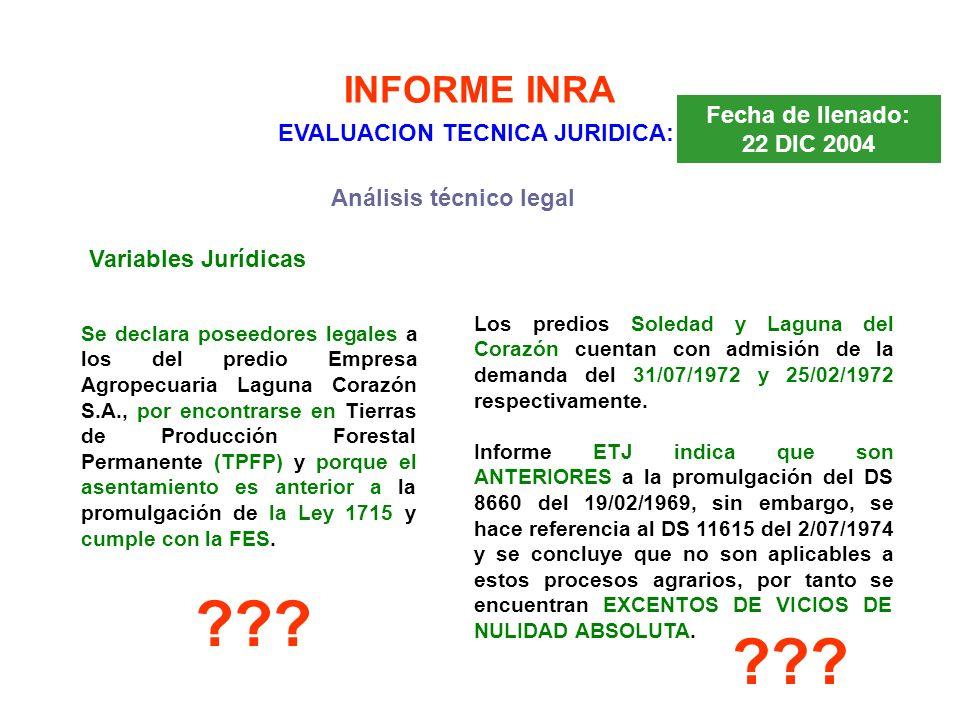 INFORME INRA EVALUACION TECNICA JURIDICA: Fecha de llenado: 22 DIC 2004 Variables Jurídicas Análisis técnico legal Se declara poseedores legales a los