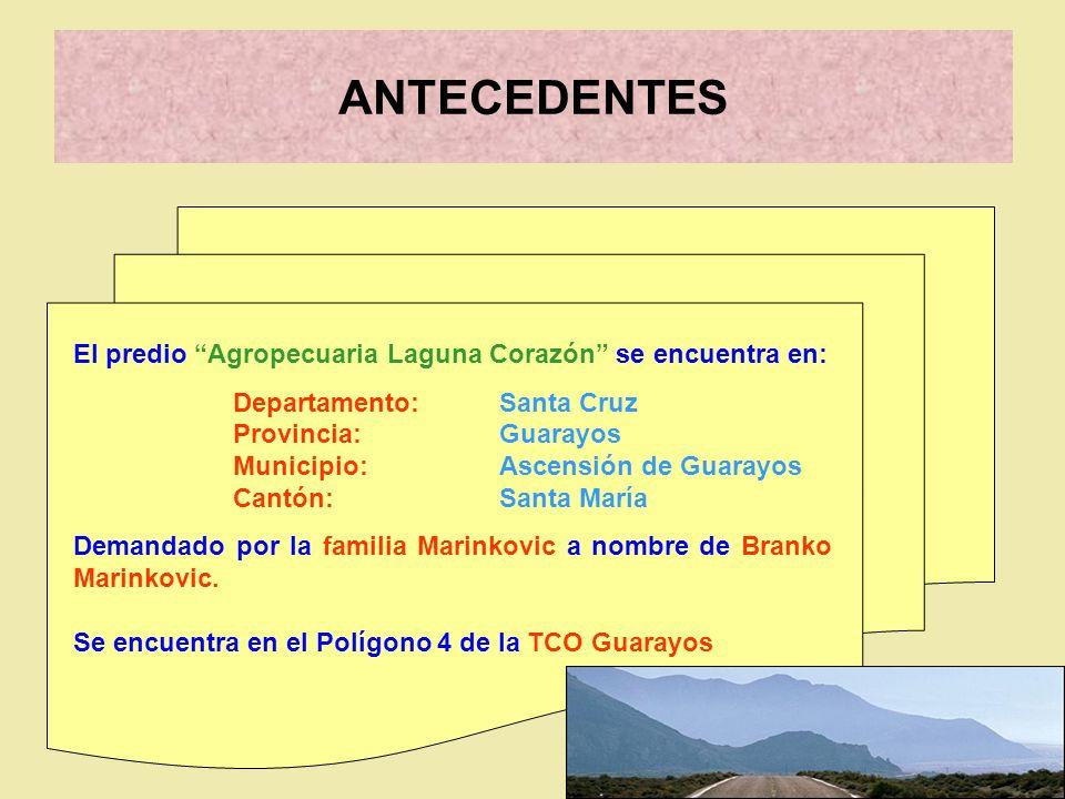 El predio Agropecuaria Laguna Corazón se encuentra en: Departamento: Santa Cruz Provincia: Guarayos Municipio: Ascensión de Guarayos Cantón: Santa Mar