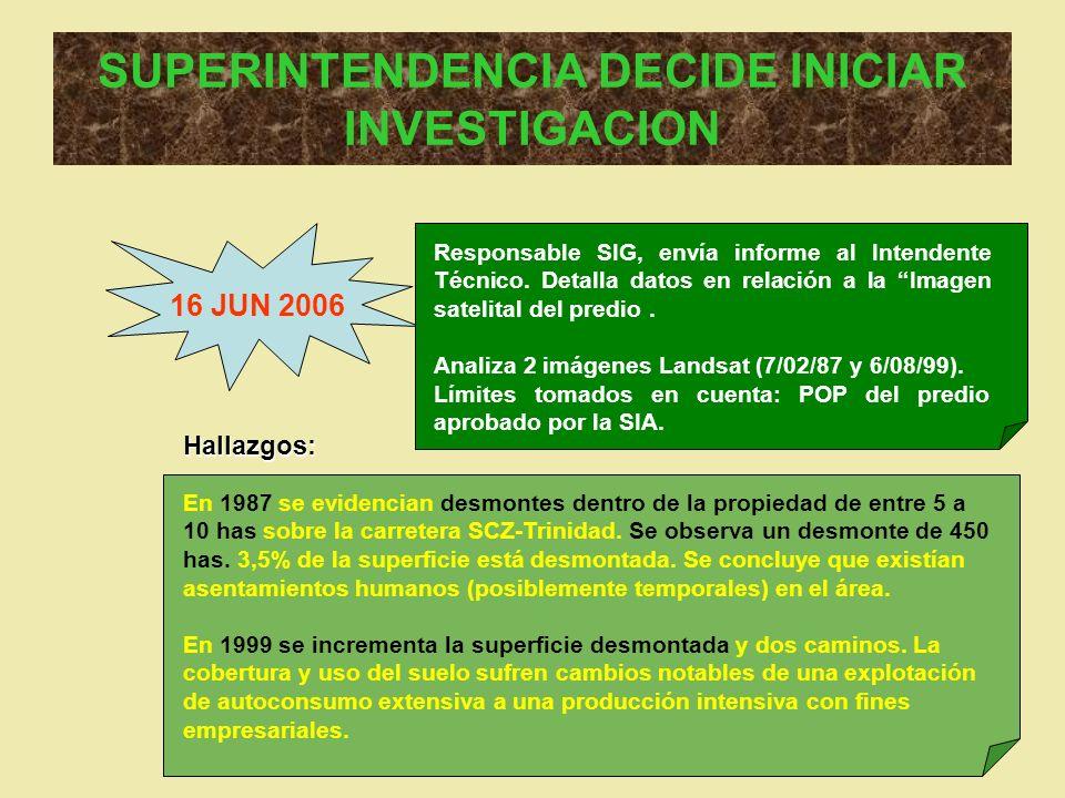SUPERINTENDENCIA DECIDE INICIAR INVESTIGACION 16 JUN 2006 Responsable SIG, envía informe al Intendente Técnico. Detalla datos en relación a la Imagen