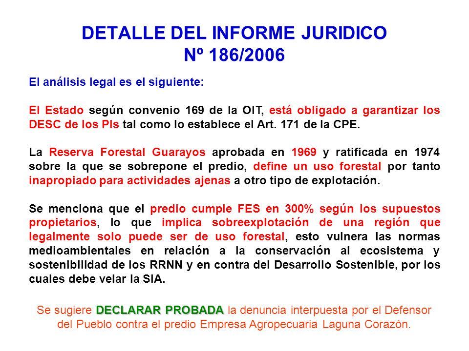 El análisis legal es el siguiente: El Estado según convenio 169 de la OIT, está obligado a garantizar los DESC de los PIs tal como lo establece el Art