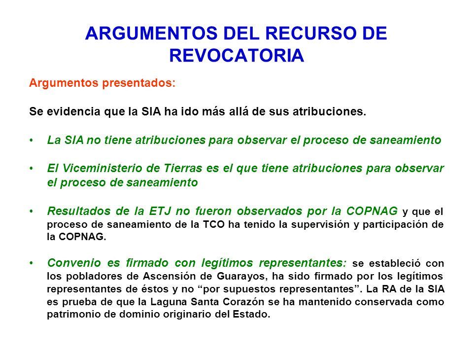 ARGUMENTOS DEL RECURSO DE REVOCATORIA Argumentos presentados: Se evidencia que la SIA ha ido más allá de sus atribuciones. La SIA no tiene atribucione