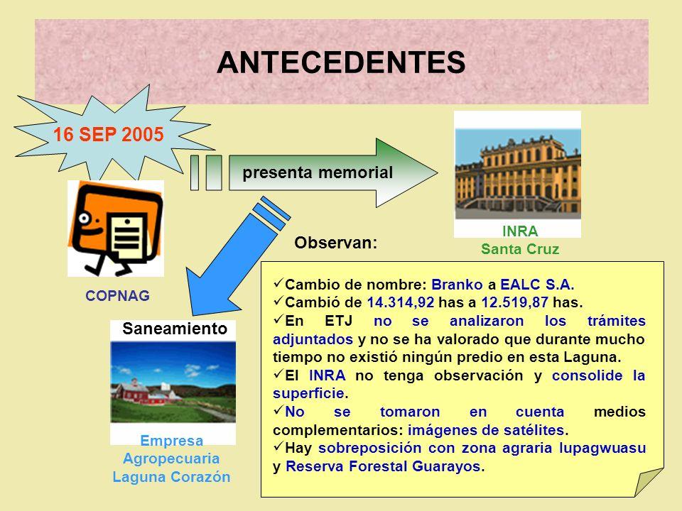 ANTECEDENTES Empresa Agropecuaria Laguna Corazón 9 DIC 2005 NUEVO memorial INRA Nacional Saneamiento Observaciones se hicieron sin conocer resultados ETJ del predio.