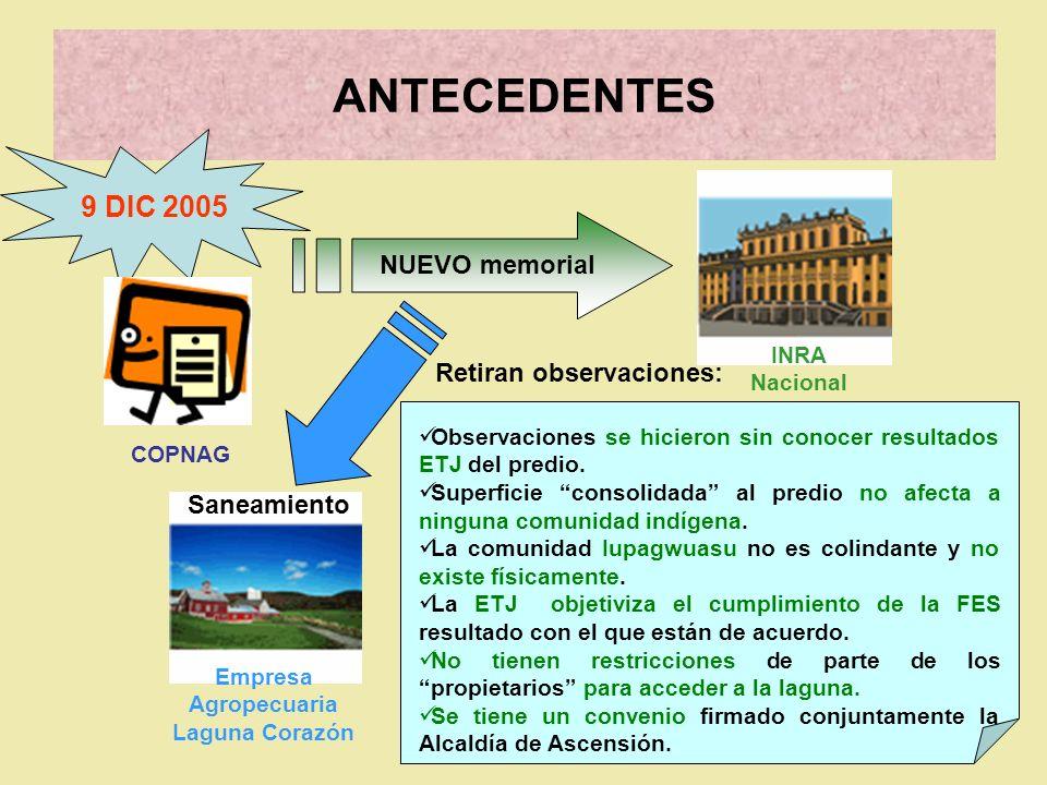 ANTECEDENTES Empresa Agropecuaria Laguna Corazón 9 DIC 2005 NUEVO memorial INRA Nacional Saneamiento Observaciones se hicieron sin conocer resultados